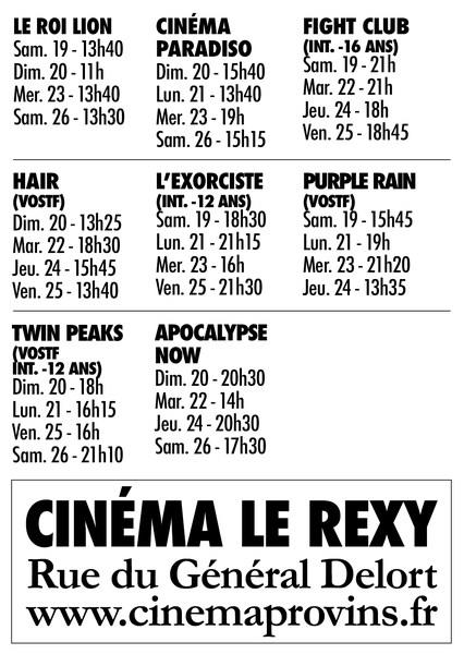 Horaires des séances Festival Film Culte